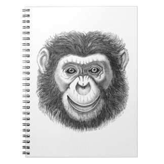 Chimpanzee Face Illustration Spiral Notebook