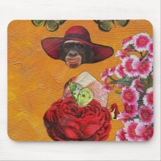 Chimpanzee Floral Butterfly Collage Mouse Pad