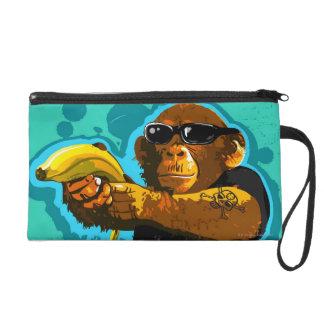Chimpanzee Holding a Banana Wristlet Clutches