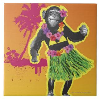 Chimpanzee Hula Dancing Ceramic Tiles