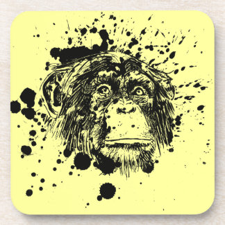 Chimpanzee in Black Splash Coasters