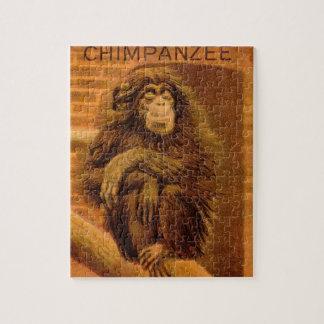 Chimpanzee Vintage Magic Lantern Slide 1890s Jigsaw Puzzle