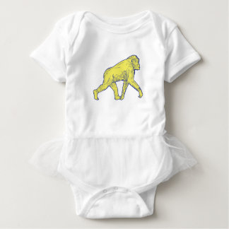 Chimpanzee Walking Side Drawing Baby Bodysuit