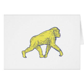 Chimpanzee Walking Side Drawing Card