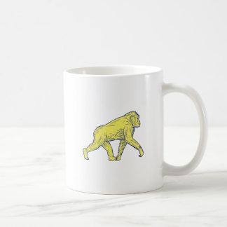 Chimpanzee Walking Side Drawing Coffee Mug