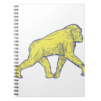 Chimpanzee Walking Side Drawing Notebook