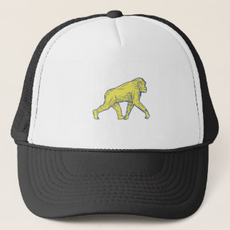 Chimpanzee Walking Side Drawing Trucker Hat