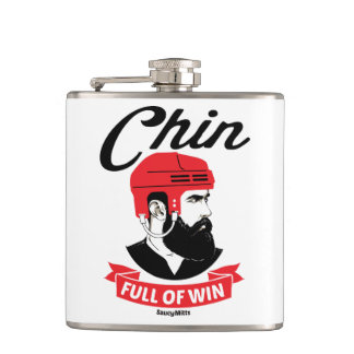 Chin Full of Win Hockey Beard Hip Flask