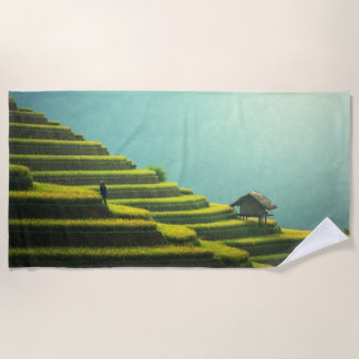China agriculture rice harvest beach towel