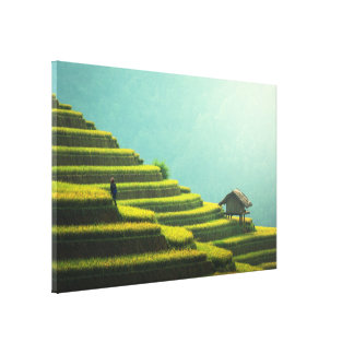 China agriculture rice harvest canvas print