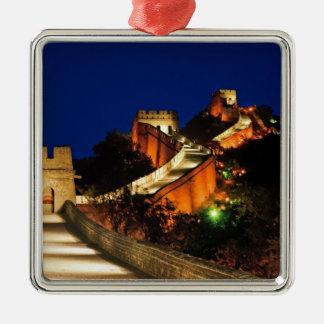 China, Badaling, Great Wall, view of Square Metal Christmas Ornament