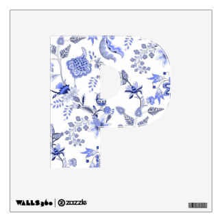 China blue and white flower letters wall sticker