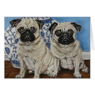 China Blue Pugs Card