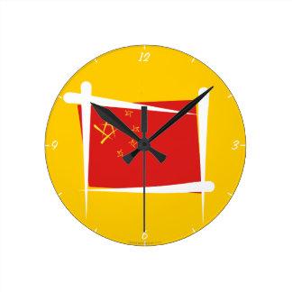 China Brush Flag Round Clock