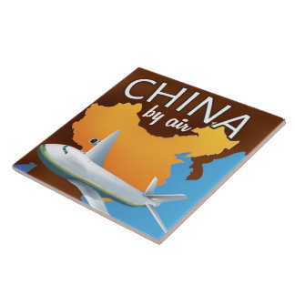 China By air travel poster Tile