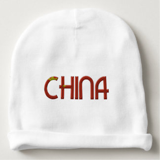 China Chinese Flag Colors Typography Baby Beanie