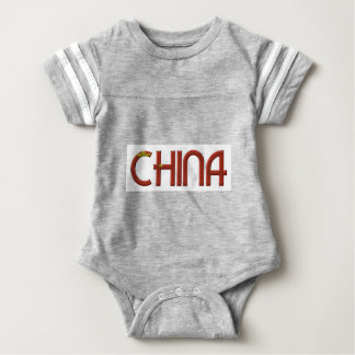China Chinese Flag Colors Typography Baby Bodysuit