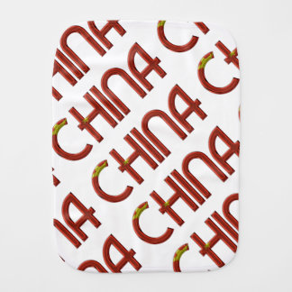 China Chinese Flag Colors Typography Burp Cloth