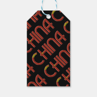 China Chinese Flag Colors Typography Gift Tags