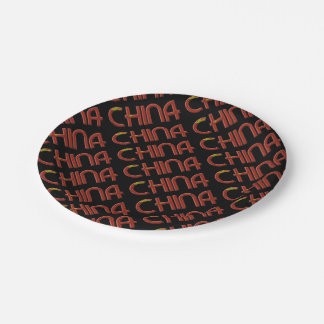 China Chinese Flag Colors Typography Paper Plate