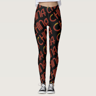 China Chinese Flag Colors Typography Pattern Leggings
