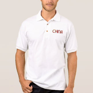 China Chinese Flag Colors Typography Polo Shirt