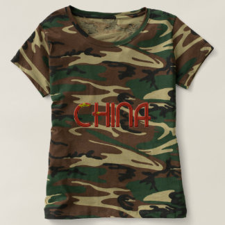 China Chinese Flag Colors Typography T-shirt