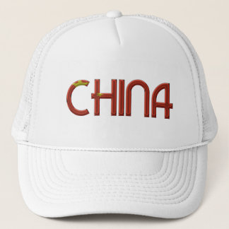 China Chinese Flag Colors Typography Trucker Hat