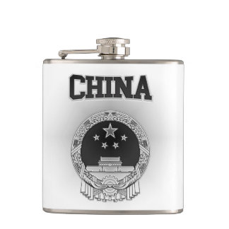 China  Coat of Arms Hip Flask