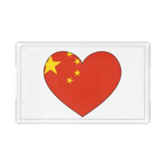 China Flag Heart Acrylic Tray