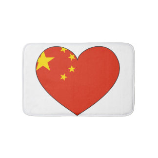 China Flag Heart Bath Mat
