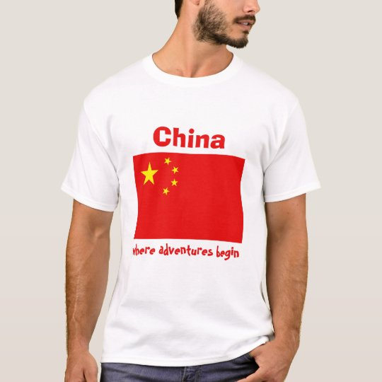 China Flag + Map + Text T-Shirt