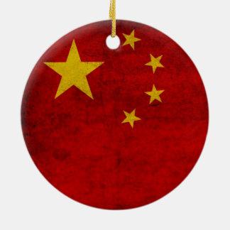 CHINA FLAG ROUND CERAMIC ORNAMENT