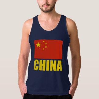 China Flag Yellow Text Tank Top