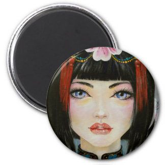 China Girl ~acrylic painting of a porcelain doll 2 Inch Round Magnet