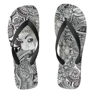 China girl in black and white flop flops flip flops