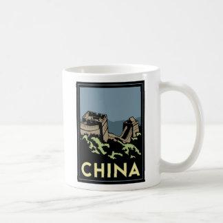 china great wall asia art deco retro travel classic white coffee mug