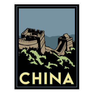 china great wall asia art deco retro travel postcard
