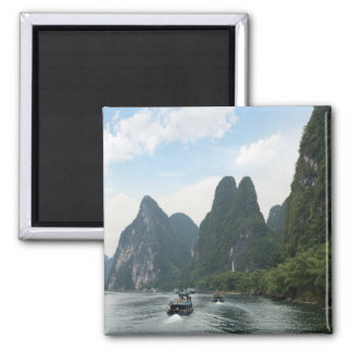 China, Guilin, Li River, River boats line the Square Magnet