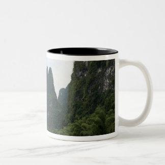 China, Guilin, Li River, River boats line the Two-Tone Coffee Mug