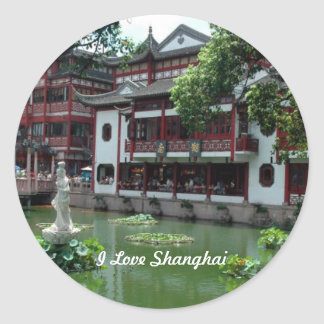 China: I Love Shanghai, China Classic Round Sticker