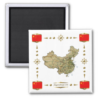 China Map + Flags Magnet