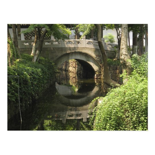 China, Nantong, an arched bridge forms a perfect Postcard