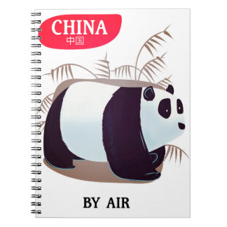 China Panda travel poster Spiral Note Book