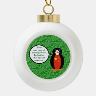 China People's Republic Holiday Penguin Ceramic Ball Christmas Ornament