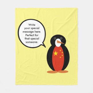 China People's Republic Penguin Fleece Blanket