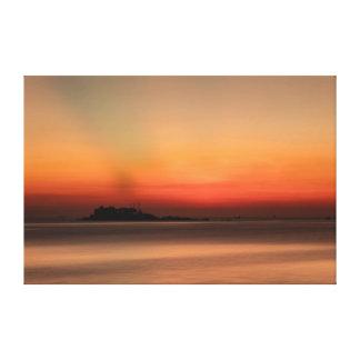 China Sea Sunrise Orange Canvas