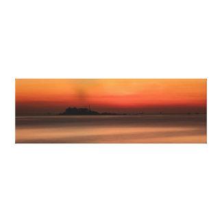 China Sea Sunrise Orange Canvas Print