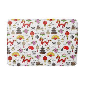 China Symbols Pattern Bath Mat