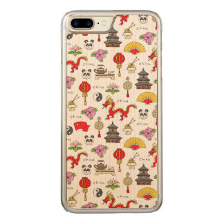 China Symbols Pattern Carved iPhone 8 Plus/7 Plus Case